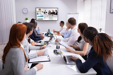 Businesspeople Having Video Co...