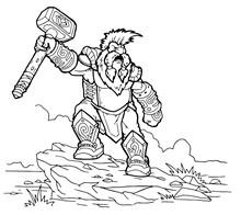 Strong Hero, Vector Image Of Fantasy Dwarf Coloring Book