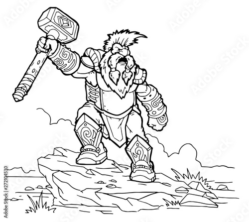 Photo strong hero, vector image of fantasy dwarf coloring book