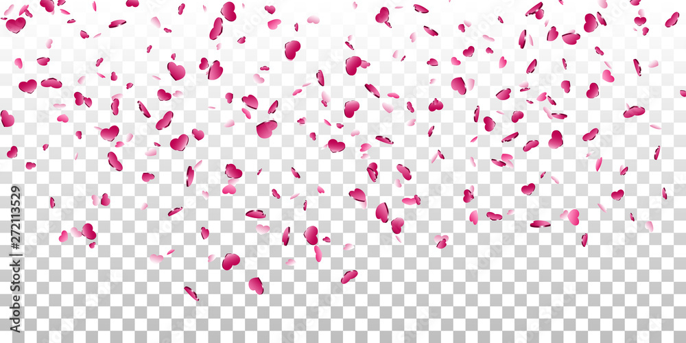 Fototapety, obrazy: Heart falling confetti isolated white transparent background. Pink fall hearts. Valentine day decoration. Love element design, hearts-shape confetti wedding card, romantic holiday. Vector illustration