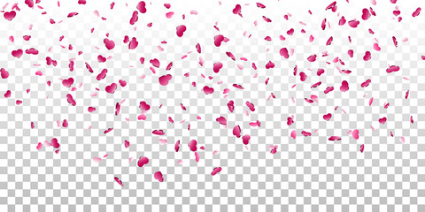 Heart falling confetti isolated white transparent background. Pink fall hearts. Valentine day decoration. Love element design, hearts-shape confetti wedding card, romantic holiday. Vector illustration