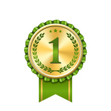 Award Ribbon Gold Icon Number First. Design Winner Golden Green Medal 1 Prize. Symbol Best Trophy 1st Success Champion, One Sport Competition Honor, Achievement Leadership Victory. Vector Illustration