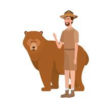 Forest Ranger Man Cartoon And Bear Design
