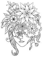 Flower Girl With Hat. Abstract Digital Illustration. Inc Hand Drawn. Coloring Page