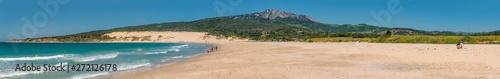 Panorama of the big dune of Valdevaqueros in Tarifa,Punta Paloma and Valdevaqueros beach. Impressive nature landscape of one of the main holidays destination of the coast of Cadiz in Andalusia, Spain