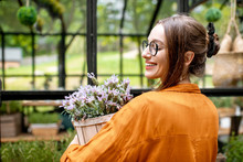 Portrait Of A Young Woman With Beautiful Lavender In The Greenhouse. Taking Care And Growing Herbs And Flowers