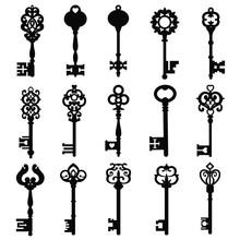 Set Of Vintage Keys. Vintage Key Vector Icon. Key Symbol Illustration.