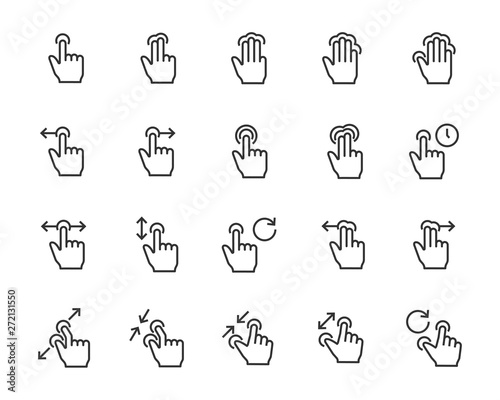 Obraz set of gesture icons, such as phone, hand, smartphone, touchscreen - fototapety do salonu