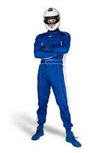Determined Race Driver In Blue White Motorsport Overall Shoes Gloves And Integral Safety Crash Helmet Isolated White Background. Car Racing Motorcycle Sport Concept.