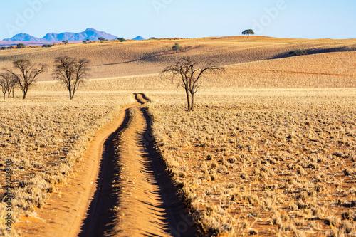 Safari auf Sandpisten in der malerischen Landschaft am Rande der Namib, NamibRand-Naturreservat, Namibia