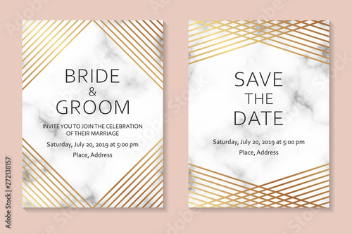 Wedding Invitation Card Design With Golden Lines On A Marble