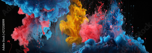 Photo Stands Smoke Acrylic blue and red colors in water. Ink blot. Abstract black background.