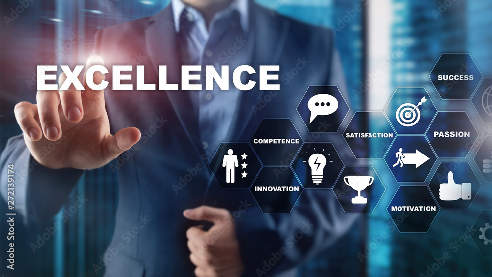 Fototapeta Achieve Business Excellence as concept. Pursuit of excellence. Blurred business center background.