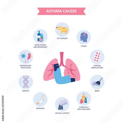 Obraz na plátně Infographics of bronchial asthma causes flat cartoon style