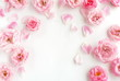 canvas print picture - Flowers composition background. beautiful pale pink roses pattern on white  background.Top view.Copy space