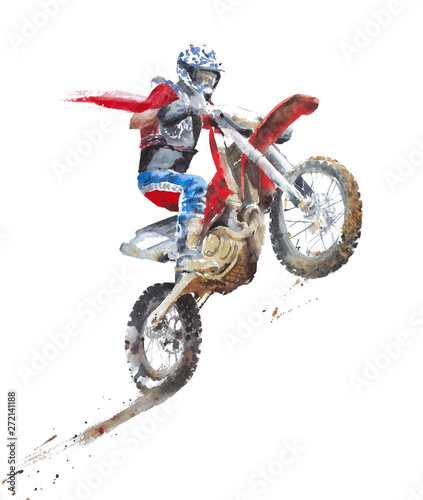 Dirty bike motorbike motorcycle sport race watercolor painting illustration isolated on white background Wall mural