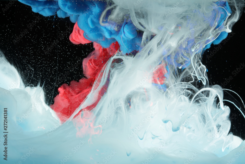 Fototapety, obrazy: Acrylic blue and red colors in water. Ink blot. Abstract black background.