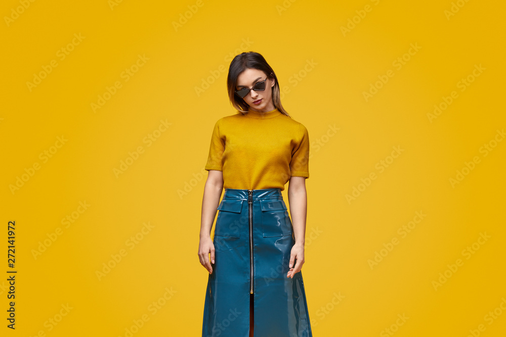 Fototapety, obrazy: Trendy woman in bright clothes and sunglasses