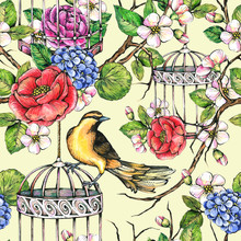 Illustration With Bird, Cage And Flowers. Seamless Pattern For Wallpaper, Fabric, Packaging Design.