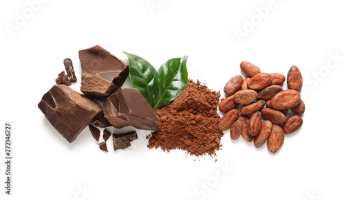 Pinturas sobre lienzo  Composition with cocoa products on white background, top view