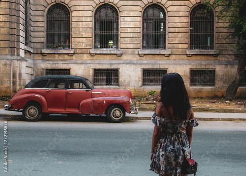 Recess Fitting Havana Colorful street and old car in Havana, Cuba