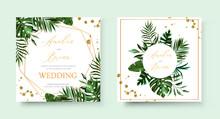 Wedding Tropic Exotic Summer Golden Geometric Triangular Frame Invitation Card