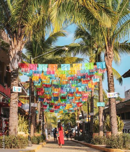 Obraz na plátně Colorful street of Sayulita, Nayarit, Mexico