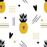 Ananas bezszwowy wzór z geometrycznymi postaciami dla druku, tkanina. Nowoczesne tło dzieci Memphis. - 272151571