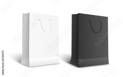 Black and white isolated paper bags for retail shopping Wallpaper Mural