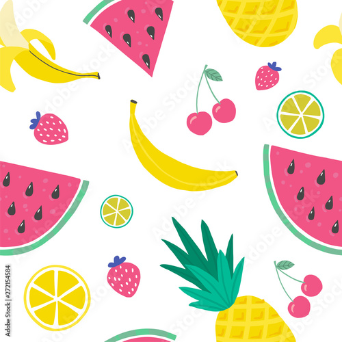 Vector tropical fruit background with pineapple, watermelon, watermelon, cherry, strawberry, banana, lemon, orange. Summer exotic fruit seamless pattern. vector handdraw illustration. Wall mural