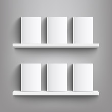 Six White Books With Blank Cov...