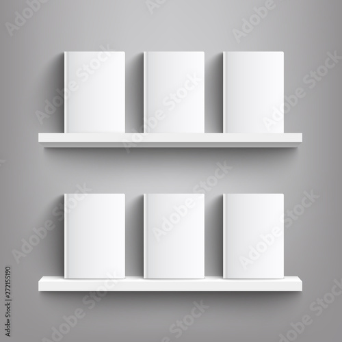 Six white books with blank covers on a bookshelf - realistic mockup of blank boo Wallpaper Mural