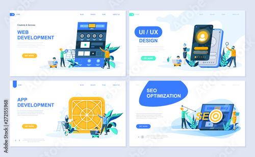 Set of landing page template for Web and App Development, UI Design, SEO Optimization Canvas Print