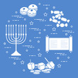 Jewish holiday Hanukkah: dreidel, sivivon, menorah, coins, donuts and other.