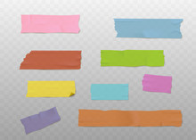 Set Of Colorful Adhesive Tape Strips With Realistic Texture, Sticky Washi Paper Pieces Isolated On Transparent Background