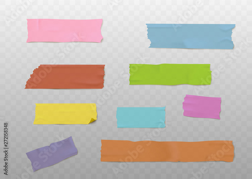 Fotografía Set of colorful adhesive tape strips with realistic texture, sticky washi paper
