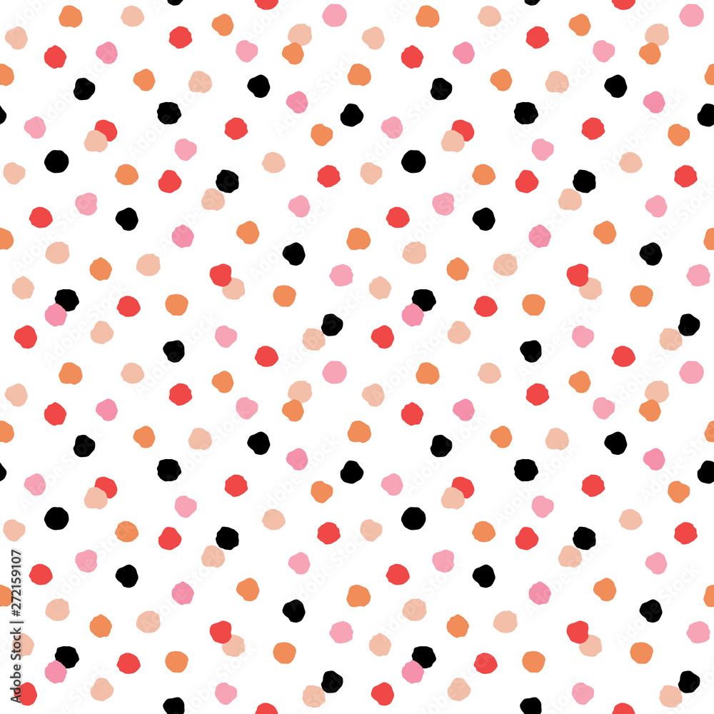 Cute seamless modern geometric pattern with confetti polka dots in red, black and pink on white. Pretty, scandinavian style background for birthday, textiles, cards, gift wrapping paper, wallpapers.
