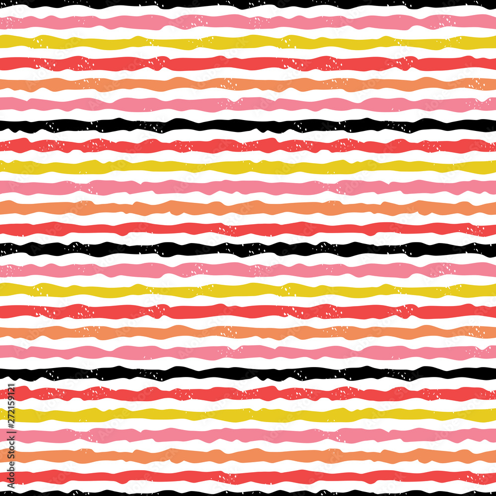 Cute seamless modern stripes background in red, black, yellow and pink on white. Colorful, hand drawn geometric design baby, for birthday, textiles, cards, gift wrapping paper, wallpapers.