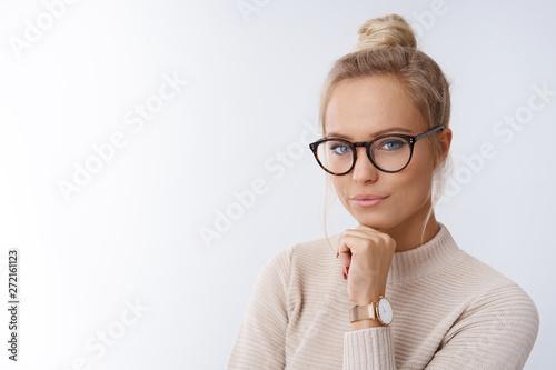 Fototapeta  Sassy and successful good-looking accomlished female lifestyle blogger in glasse