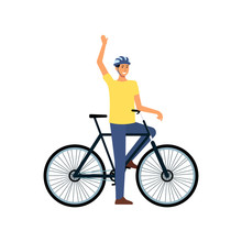 Cartoon Man With Bicycle Standing And Waving, Happy Male Cyclist With Helmet Stopped On Bike Ride To Greet Someone.