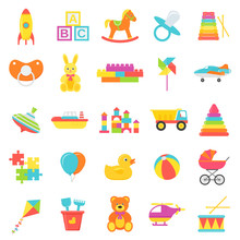 Baby Toys Isolated. Vector. Set Kids Toy. Baby Shower Stuff In Flat Design On White Background. Colorful Cartoon Illustration. Collection Children Icons.