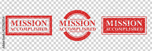 Fotografía Vector set of realistic isolated grunge rubber stamp of Mission Accomplished logo for template decoration on the transparent background