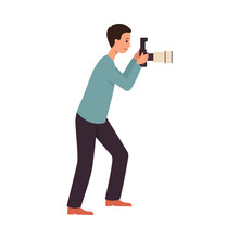 Side View Man Stand Holding Camera And Taking Photo Picture Flat Cartoon Style