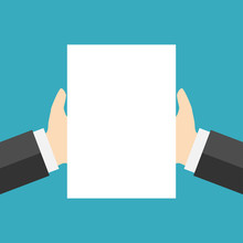Blank Sheet Of White Paper At Hand