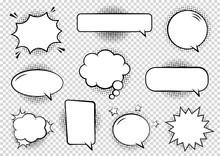 Retro Empty Comic Bubbles And Elements Set With Black Halftone Shadows On Transparent Background. Vector Illustration, Vintage Design, Pop Art Style.