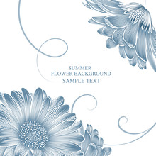 Summer Background And Frame With Gerbera Flowers.