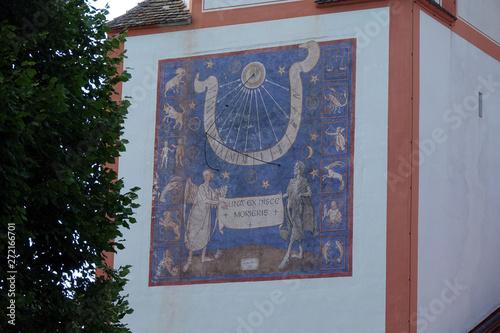 Fototapety, obrazy: Sonnenuhr an der Kirche am Kloster Andechs