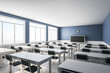 canvas print picture - Clean blue classroom