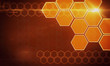 canvas print picture - Creative orange hexagonal background