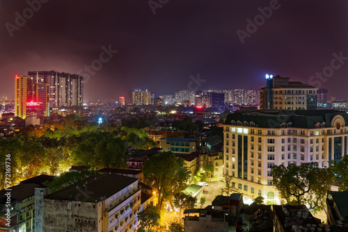In de dag Verenigde Staten Beautiful night view over residential district Bach Dang in Ha Noi city (Hanoi), Vietnam.